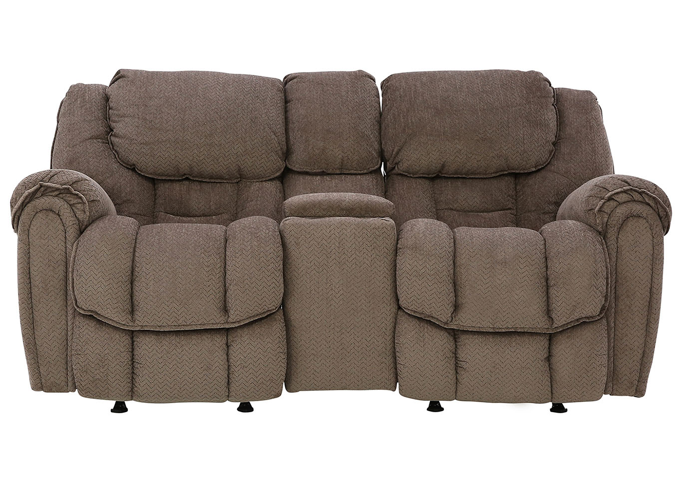 BAXTER TAUPE RECLINING LOVESEAT WITH CONSOLE