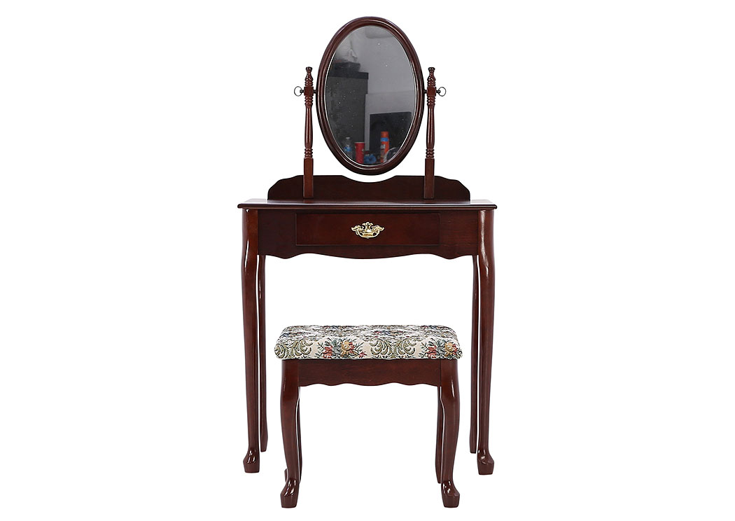 IRIS CHERRY VANITY AND STOOL,CROWN MARK INT.
