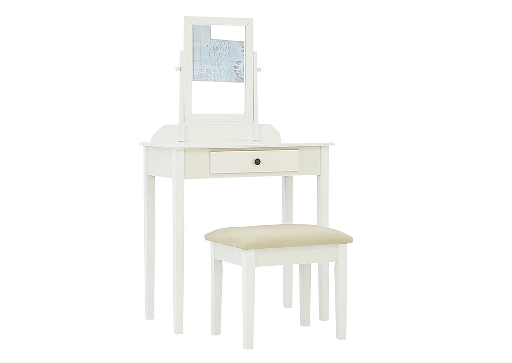 IRIS WHITE VANITY AND STOOL,CROWN MARK INT.