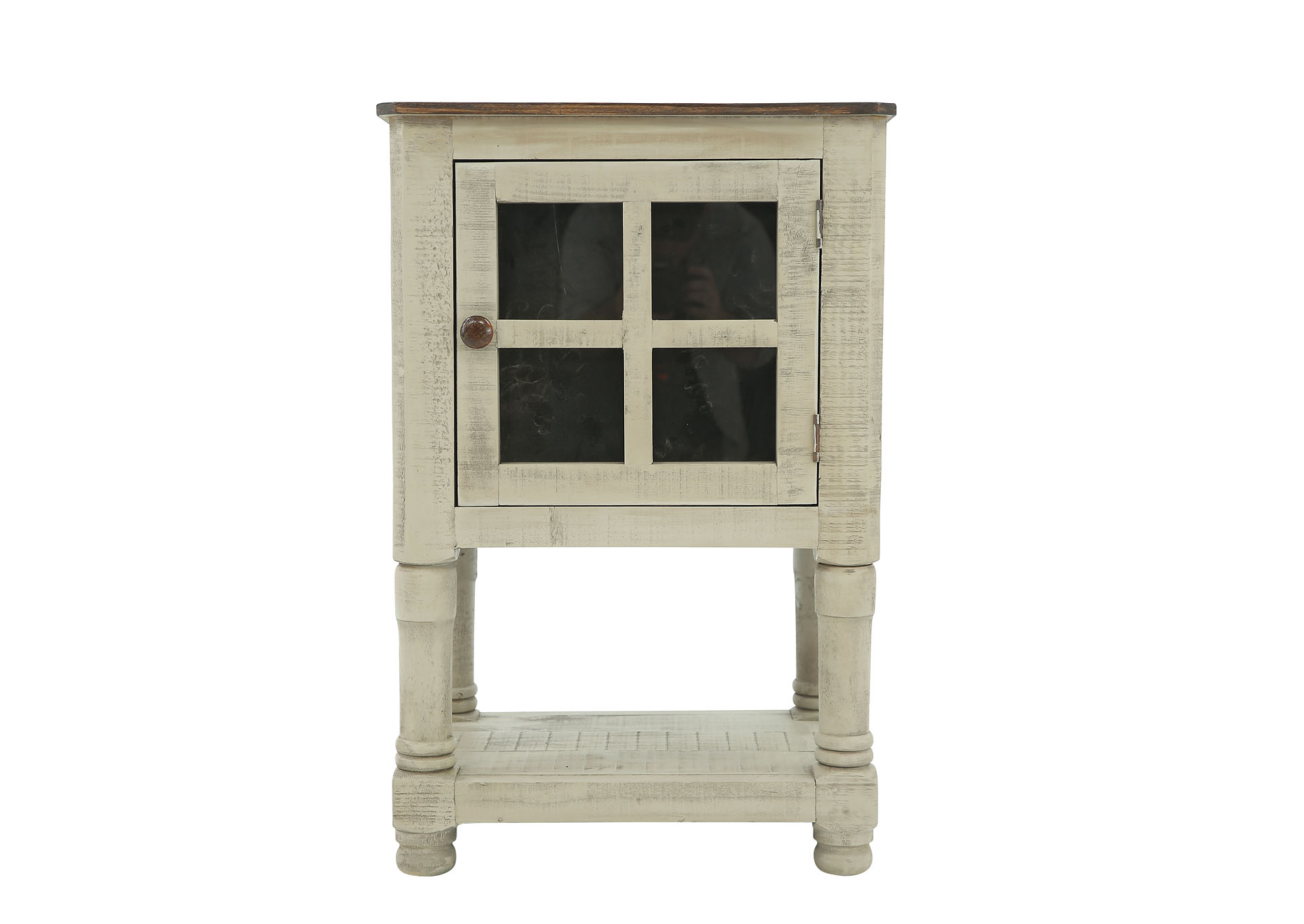 AUGUSTA GRAY AND TOBACCO ACCENT TABLE,RUSTIC IMPORTS