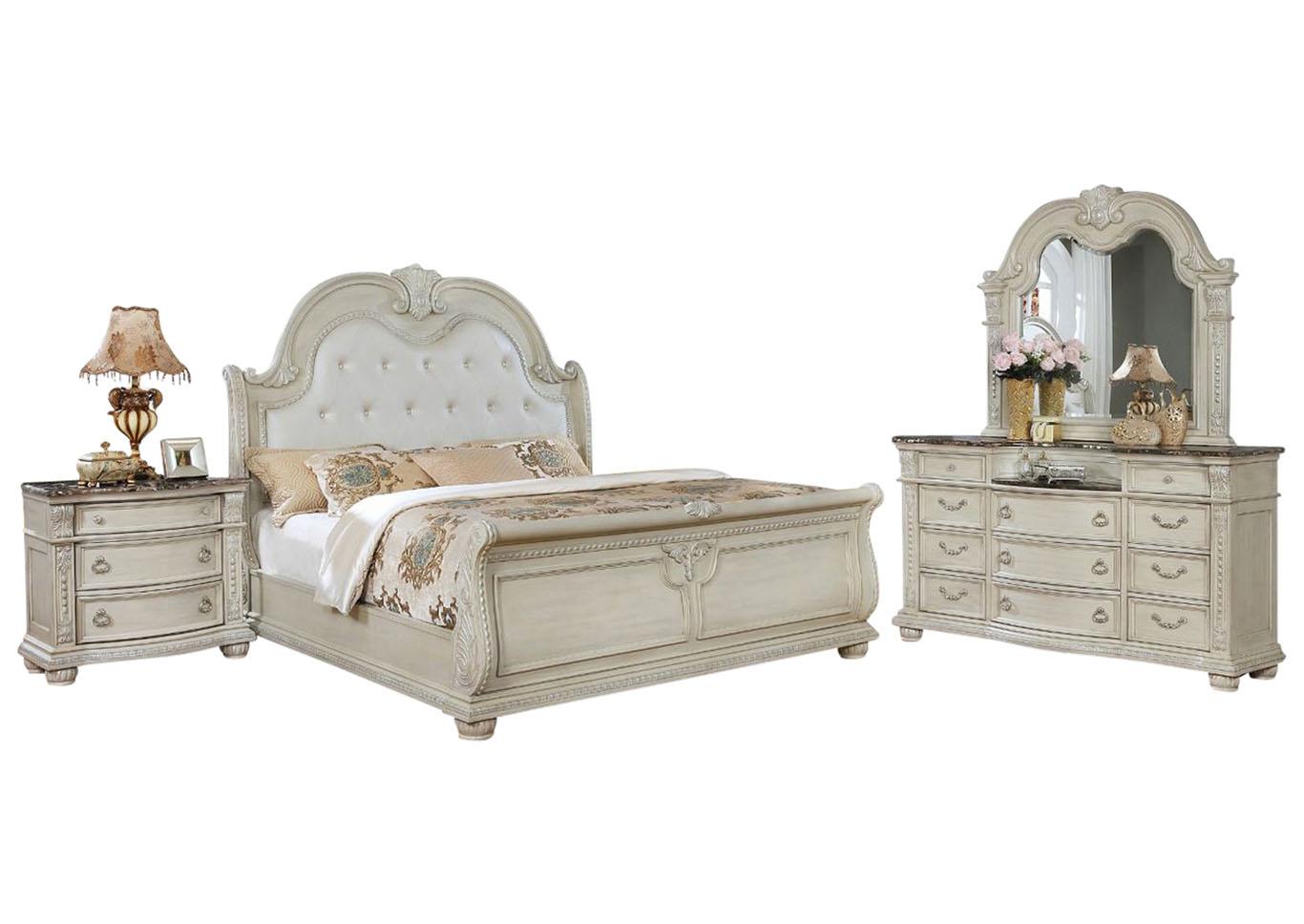 Stanley Antique White Queen Bedroom Set Ivan Smith