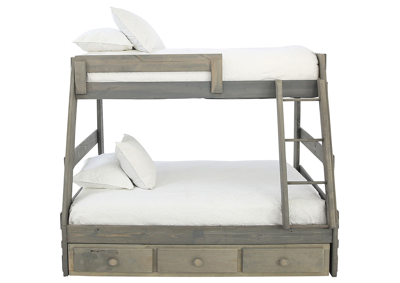 Picture of: Sawyer Driftwood Twin Over Full Bunkbed With Storage And Bunkie Boards Ivan Smith