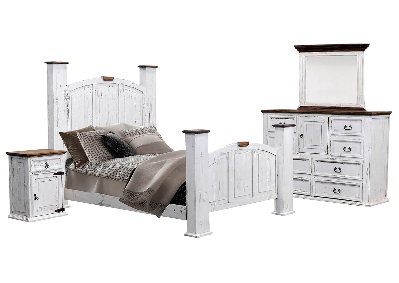Mansion Aged White Queen Bedroom Set Ivan Smith Furniture