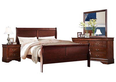 LOUIS PHILIP CHERRY QUEEN BEDROOM SET,CROWN MARK INT.