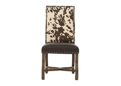 Image for MESQUITE RANCH LEATHER/FAUX COWHIDE SIDE CHAIR