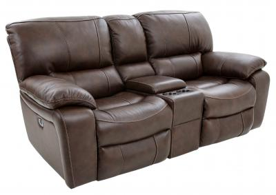 Image for OAKHAM COFFEE LEATHER POWER RECLINING LOVESEAT WITH CONSOLE