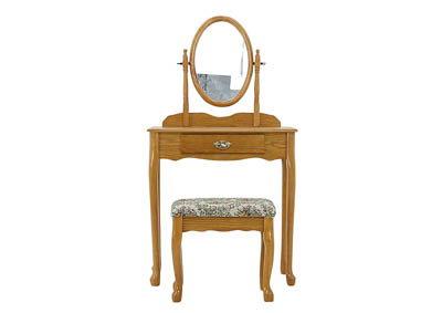 IRIS OAK VANITY AND STOOL