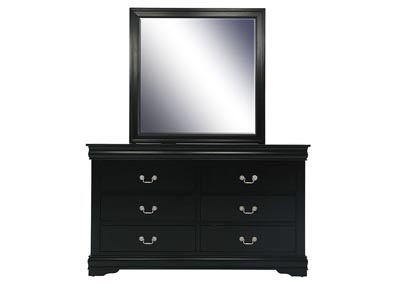 LOUIS PHILIP BLACK DRESSER AND MIRROR