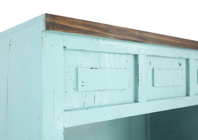 LAWMAN TURQUOISE BOOKCASE,RUSTIC IMPORTS