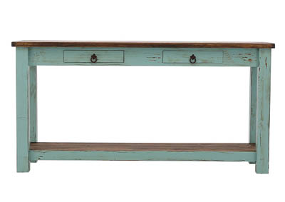 LAWMAN TURQUOISE SOFA TABLE,RUSTIC IMPORTS