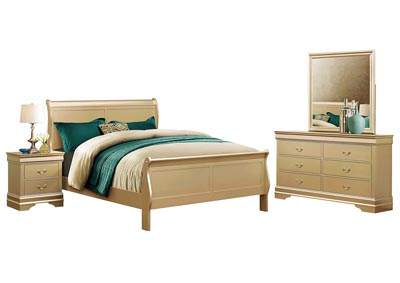 LOUIS PHILIP CHAMPAGNE QUEEN BEDROOM SET