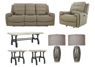 Image for WICKLOW POWER TAUPE LIVING ROOM SET
