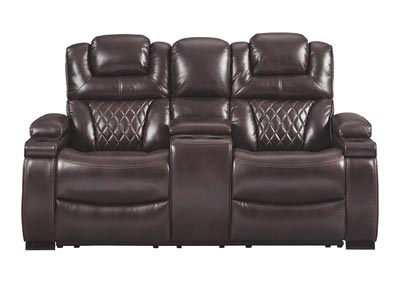 WARNERTON CHOCOLATE POWER RECLINING LOVESEAT WITH CONSOLE,ASHLEY FURNITURE INC.