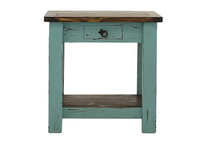 Image for LAWMAN TURQUOISE END TABLE