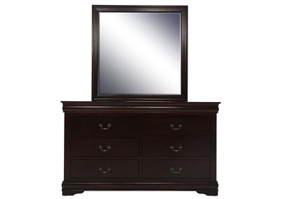 LOUIS PHILIP CHERRY DRESSER AND MIRROR