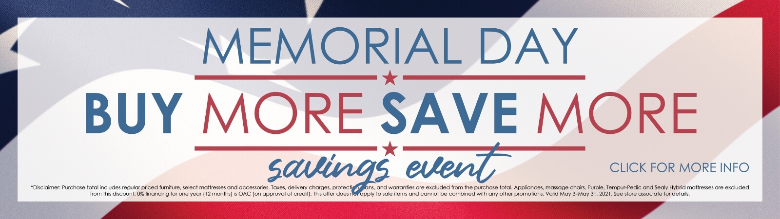 Memorial Day Savings are here!
