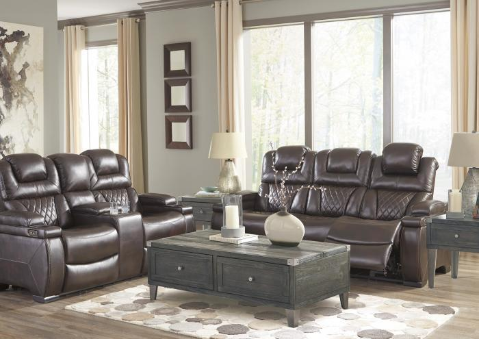Lincoln Power Reclining Sofa with Adjustable Headrest and Power Reclining Loveseat with Adjustable Headrest,Jaron's Showcase