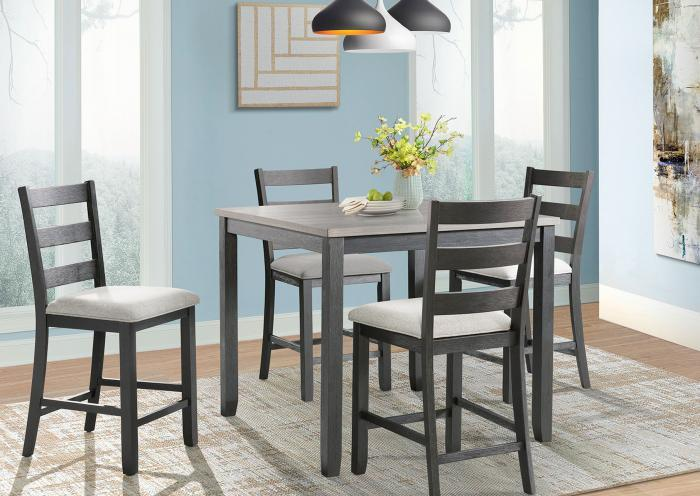 Martin Counter Height Table and 4 Chairs (All in One),Jaron's Showcase