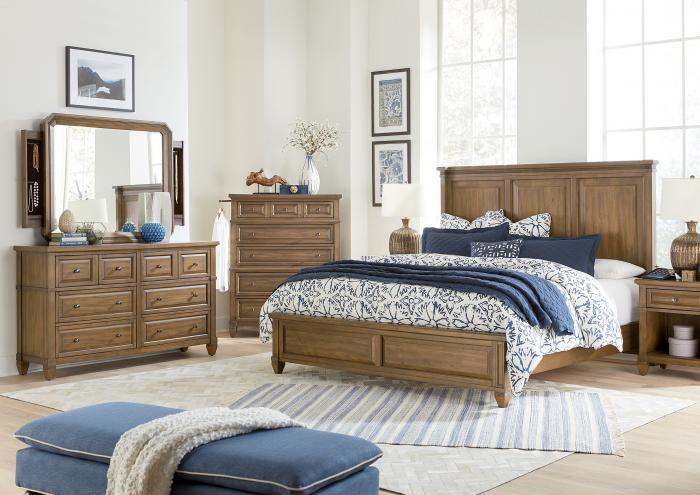 Thornton Queen Panel Bed, Dresser, Mirror with Jewelry Storage, Chest and 1 One Drawer Nightstand,Jaron's Showcase