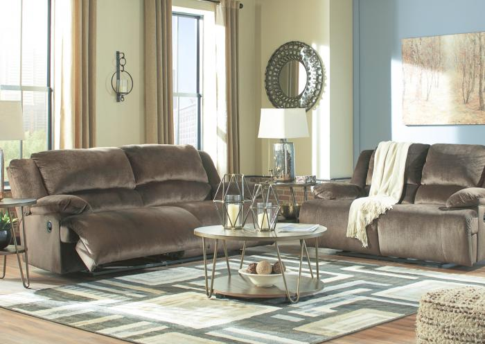 Brighton Chocolate Reclining Sofa and Reclining Loveseat,Jaron's Showcase