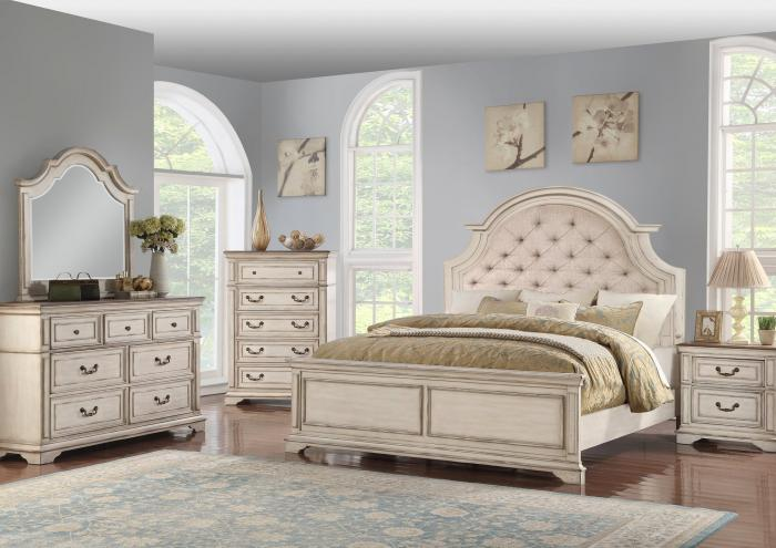 Anastasia King Upholstered Bed, Dresser and Mirror,Jaron's Showcase