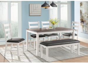Image for Martin White-Brown Table, 4 Side Chairs and a Bench (All in One)
