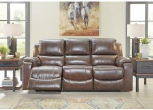 Image for Mahogany Leather Reclining Sofa