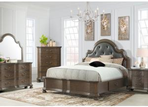 Image for Baron King Upholstered Storage Bed, Dresser, Mirror, Chest and 1 Nightstand