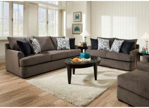 Grandstand Flannel Sofa and Loveseat