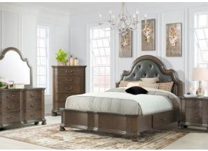 Image for Baron King Upholstered Storage Bed, Dresser and Mirror