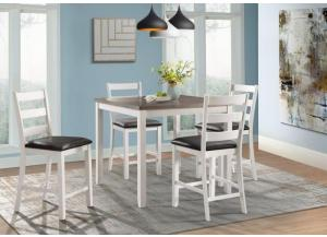 Image for Martin White Counter Height Table and 4 Chairs (All in One)
