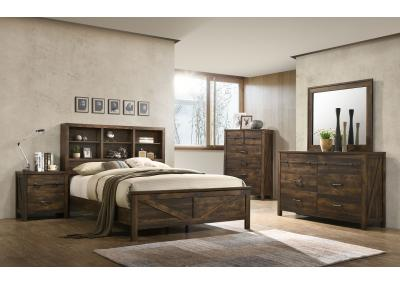 Image for Wales King Bed w/Bookcase Headboard, Dresser, Mirror, Chest and 1 Nightstand