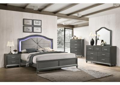 Image for Palermo Queen Bed w/LED Lighting, Dresser, Mirror, Chest and 1 Nightstand