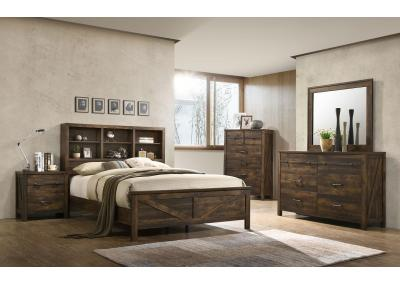 Image for Wales Queen Bed w/Bookcase Headboard, Dresser, Mirror, Chest and 1 Nightstand