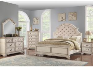 Image for Anastasia King Upholstered Bed, Dresser,  Mirror, chest and 1 Nightstand