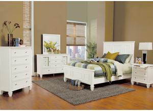 Image for Sandy Beach White King Bed, Dresser, Mirror, Chest and 1 Nightstand