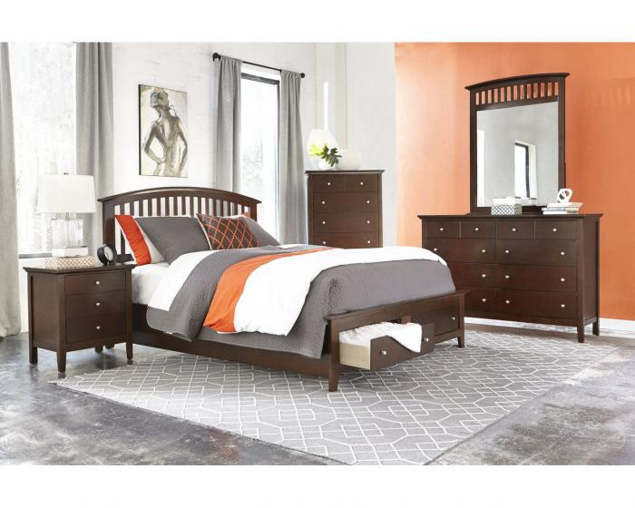 Queen Storge Bed, Dresser & Mirror,Jerusalem Furniture