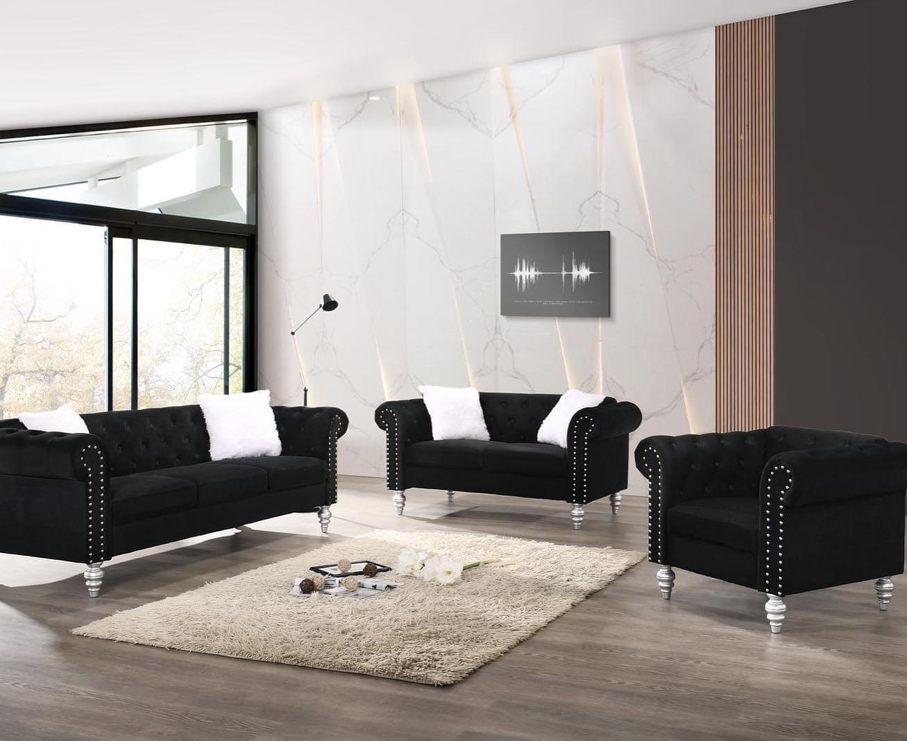 2070 DIVA BLACK- SOFA & LOVESEAT,Jerusalem Furniture