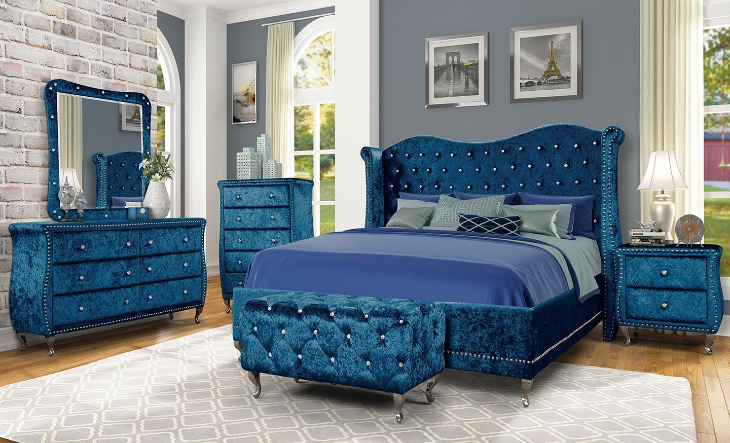 DIVA BLUE- QUEEN BED, DRESSER, MIRROR, CHEST, 1 NIGHT STAND,Jerusalem Furniture