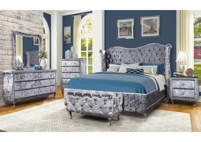 PENELOPE-KING BED, DRESSER, MIRROR, 1 NIGHT STAND