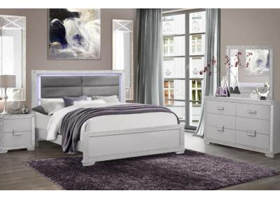 CHALICE- QUEEN LED BED, DRESSER, MIRROR, 1 NIGHT STAND