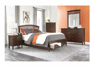 Queen Storge Bed, Dresser & Mirror