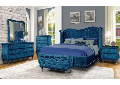 DIVA BLUE- QUEEN BED, DRESSER, MIRROR, CHEST, 1 NIGHT STAND