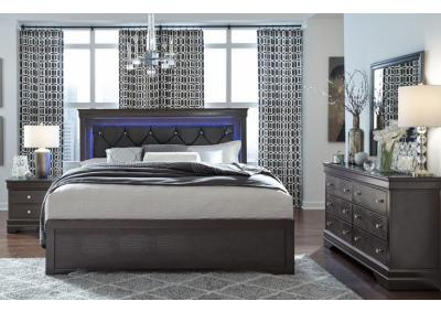 Image for POMPEI GRAY -QUEEN BED, DRESSER, MIRROR, CHEST, 1 NIGHT STAND