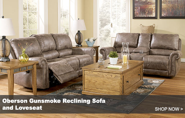 Oberson Gunsmoke Reclining Sofa and Loveseat