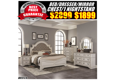 Image for 8023 QUEEN BED,DRESSER,MIRROR,CHEST,1N/S