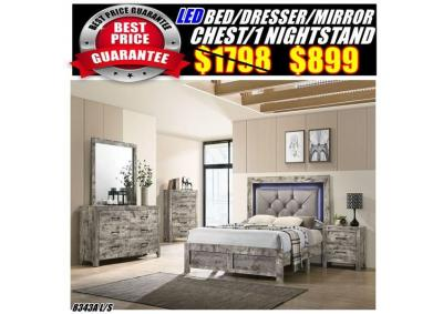 Image for 8343  LED QUEEN BED /DRESSER/MIRROR/CHAST/1NS