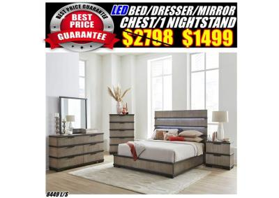 Image for 8449  LED QUEEN BED /DRESSER/MIRROR/CHAST/1NS