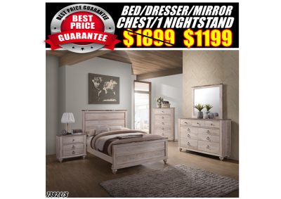 Image for 7302  QUEEN BED,DRESSER,MIRROR,CHEST,1N/S