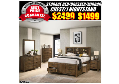 Image for 8308 QUEEN STORAGE BED,DRESSER,MIRROR,CHEST,1N/S